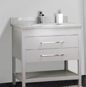32 Inches Solid Wood Gray Vanity with Stone Top